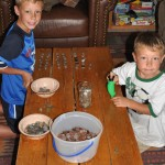 Boys counting some donated coins!